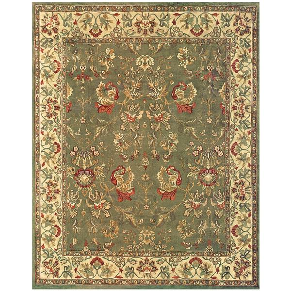 Grand Bazaar Hand-knotted 100-percent Wool Pile Tamara Rug in Olive/Ivory 7' X 9'