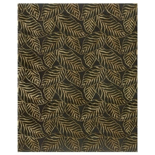 "Grand Bazaar Hand-knotted Wool & Art Silk Leafscape Rug in Black 5'-6"" x 8'-6"""