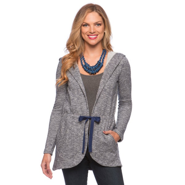 Cable & Gauge Women's Marled Navy Open-front Jacket