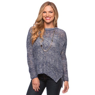 Cable & Gauge Sport Boxy Round Neck Rib Trim Sweater