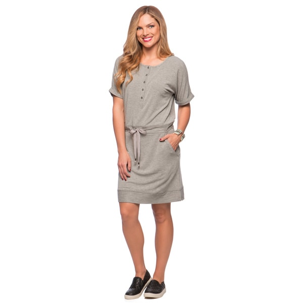 Cable & Gauge Henley Drawstring Waist Roll Dress