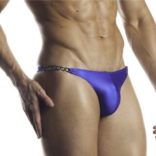 Fantasy Lingerie Excite for Men Electric Blue Banana Hammock Chainlink Thong