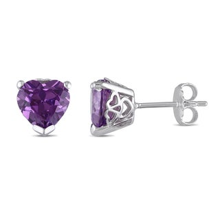 Miadora Sterling Silver Created Alexandrite Heart Solitaire Earrings