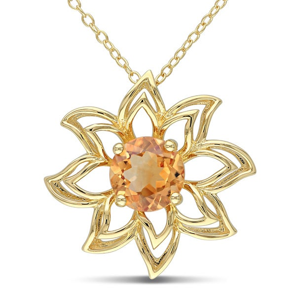 Miadora Yellow Plated Silver Citrine Flower Necklace
