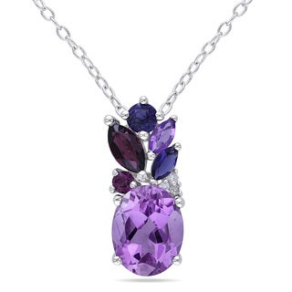 Miadora Sterling Silver Amethyst, Garnet, Iolite and Diamond Accent Necklace