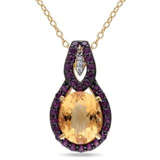 Miadora Yellow Plated Silver Citrine, Rhodolite and Diamond Accent Drop Necklace