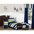 Navy Blue/ Lime Green Stripe Boy's 5-piece Toddler Bedding Comforter Sheet Set