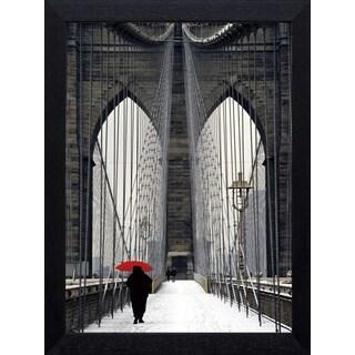 Michael Cahill 'Brooklyn Bridge Meets Red' Framed Art Print