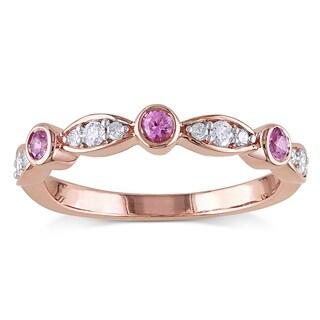 Miadora 10k Rose Gold Pink Sapphire and 1/6ct TDW Diamond Anniversary Ring (G-H, I2-I3)