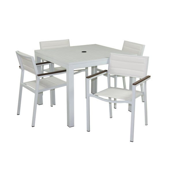 Tuscan 5-piece Gloss White Outdoor Dining Set