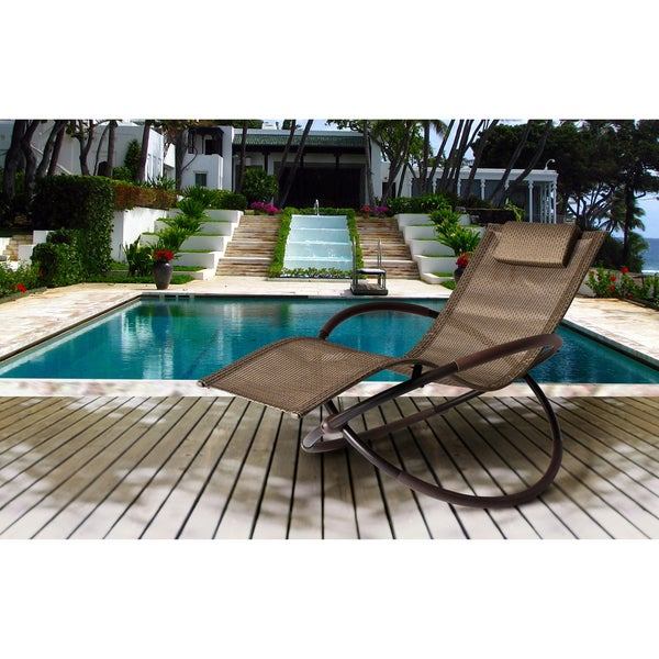 Bellini Andover Wave Brown Rocking Chaise Lounge