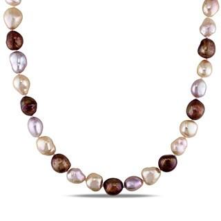 Miadora Sterling Silver Cultured Freshwater Multi-color Pearl Necklace