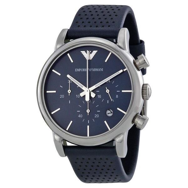 Emporio Armani Men's AR1736 'Classic' Chronograph Blue Leather Watch