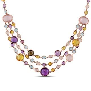 Miadora Signature Collection 18k Rose Gold Citrine Amethyst Quartz Topaz Three-Strand Necklace