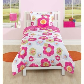 Textured Polyester Flower Comforter Set with Decorative Pillow
