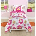 Textured Flower 4-piece Comforter Set with Decorative Pillow