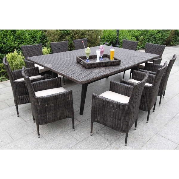 Sorano Wicker 12-piece Dining Set with Tan Cushions