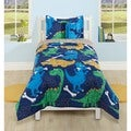 Funny Dinosaur Polyester Comforter Set with Decorative Pillow