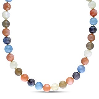 Miadora Yellow Plated Silver Aquamarine, Moonstone and Labradorite Necklace