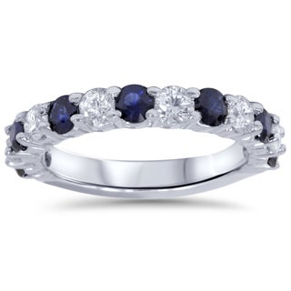 Bliss 14k White Gold 2ct TDW Diamond and Blue Sapphire Wedding Ring (H-I, I2-I3)