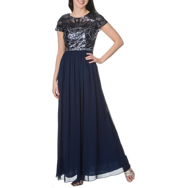Decode 1.8 Women's Navy Short Sleeved Art Deco Sequin Design Social Occasion Gown