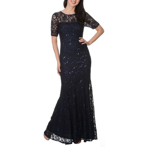 Decode 1.8 Women's Navy Lace and Sequins Social Occasion Gown