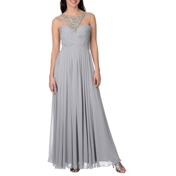 Decode 1.8 Women's Long Grey Embellished Goddess Gown