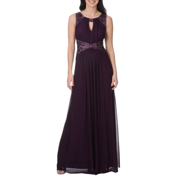 Decode 1.8 Women's Purple Beaded Detail Goddess Gown