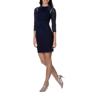 Decode 1.8 Women's Navy Embellished and Cut Out Shoulder Dress