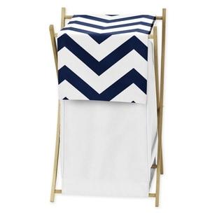 Sweet JoJo Designs Navy/ White Chevron Laundry Hamper