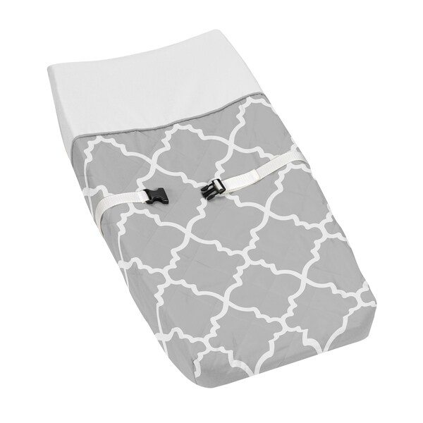 Sweet JoJo Designs Grey/ White Trellis Changing Pad Cover