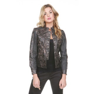 Stanzino Women's Authentic Leather and Denim Military Jacket