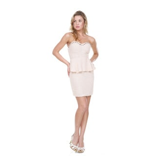 Stanzino Women's Peach Peplum Party Mini Dress