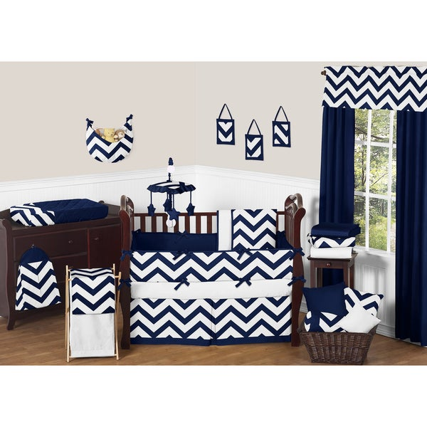 Sweet JoJo Designs Neutral Navy Blue/ White Chevron 9-piece Bedding Set 14795584
