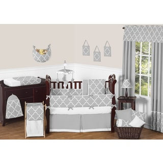 Sweet JoJo Designs Neutral Grey/ White Trellis 9-piece Baby Bedding Set