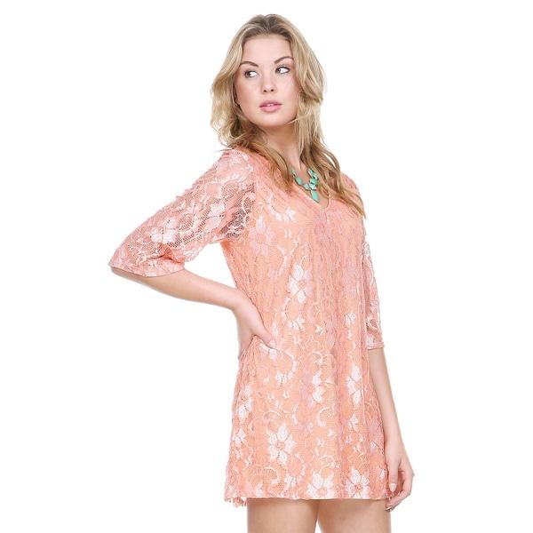 Stanzino Women's Casual Lace Tunic Dress
