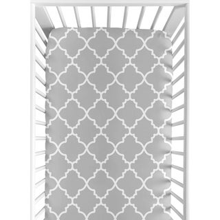 Sweet JoJo Designs Grey/ White Trellis Fitted Crib Sheet