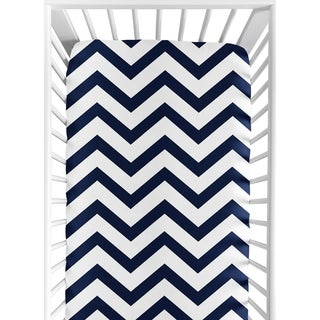 Sweet Jojo Designs Navy/ White Chevron Fitted Crib Sheet