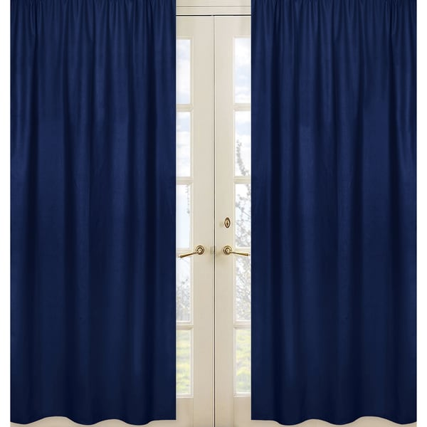 Stripe Collection Solid Navy Blue Window Treatment Panels (Set of 2)