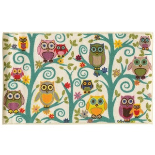 Funky Owls Multicolored Youth Loop-pile Area Rug (4'4 x 6'9)