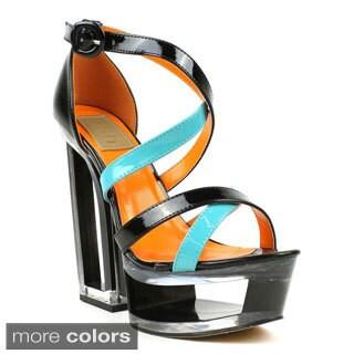 Fahrenheit Women's Olga-03 Cross Strap Cut-out Wedge Heels