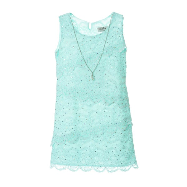 Sophia Christina Girls' Tiered Sparkly Lace Dress with Necklace