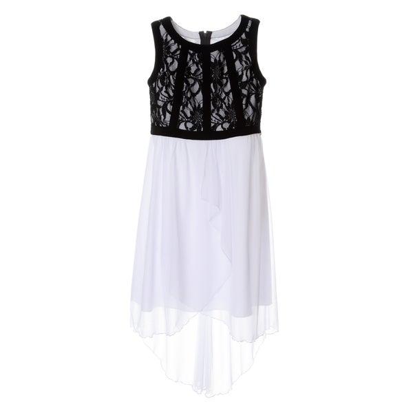 Sophia Christina Girls' Lace/ Chiffon High-low Dress