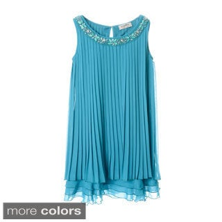 Sophia Christina Girls Pleated Chiffon Jewel/ Sparkle Neckline Dress