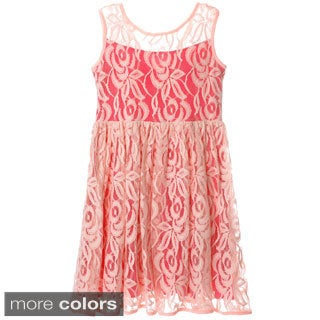 Sophia Christina Girls' Two-tone Lace Fit-and-flare Dress