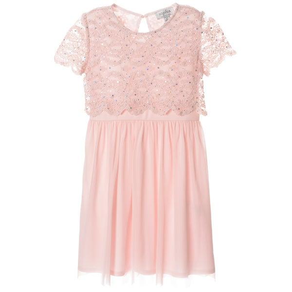 Sophia Christina Girls' Lace/ Sequin Mock 2-piece Dress
