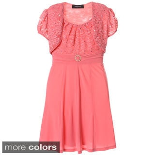 Sophia Christina Girls' Lace Top Rhinestone Buckle Dress With Bolero