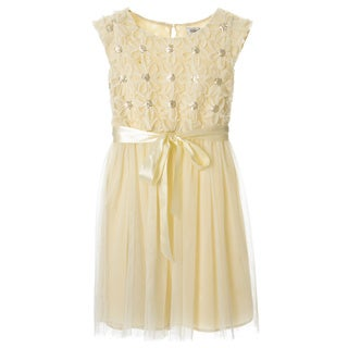 Sophia Christina Girls' Daisy Soutache/ Sequin Mesh Skirt Dress