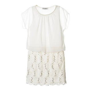 Sophia Christina Girls Chiffon Popover Lace/ Sequin Dress