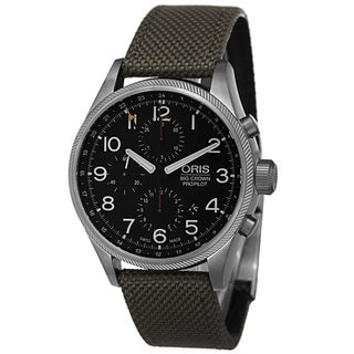 Oris Men's 677 7699 4164 LS2 'Big Crown' Black Dial Green Fabric Strap Automatic Chronograph Watch